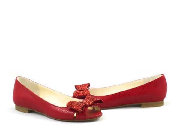 Red Ballerina Statement Wedding Shoe