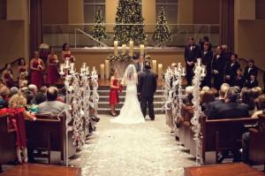 Christmas wedding church decor