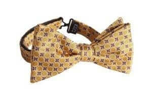 Hammond & Co by Patrick Grant Dark Yellow Geometric Spot Silk Bow Tie