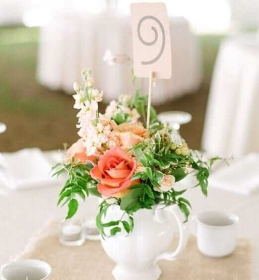 wedding centrepieces - tea pot