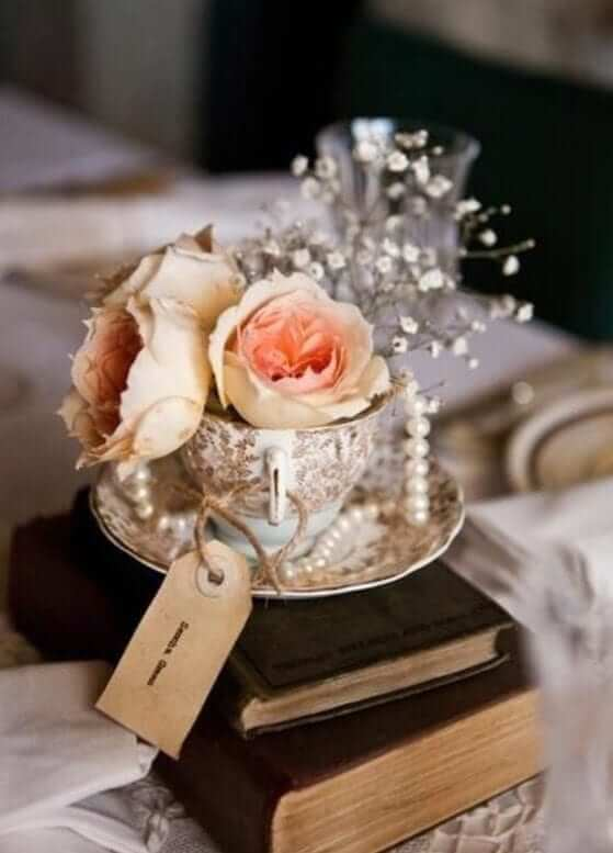 wedding centrepieces - tea cup