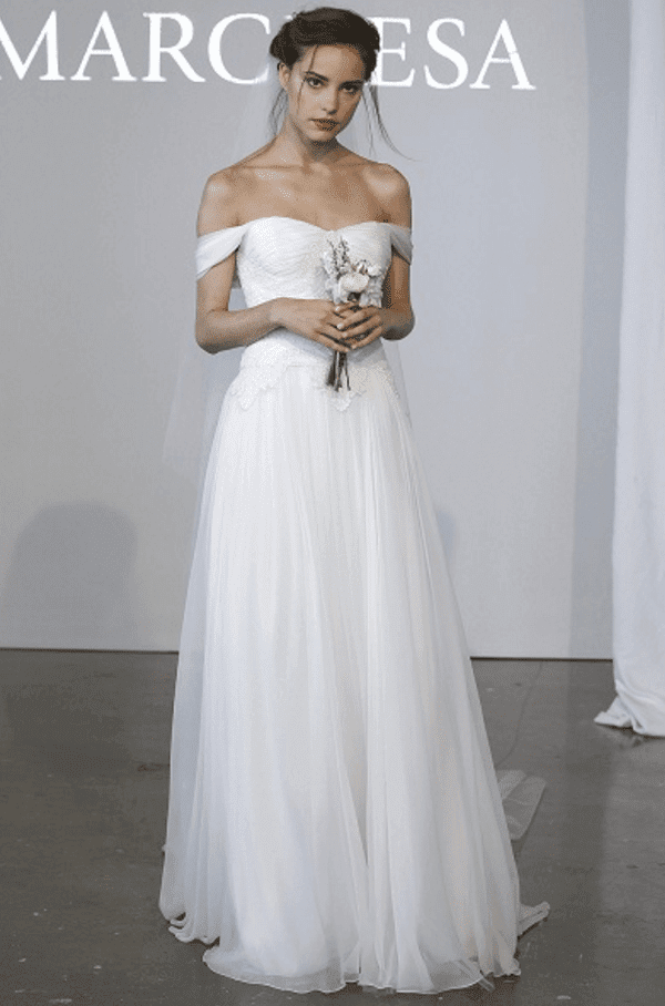 off the shoulder wedding dress