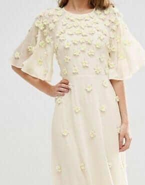 €239.99 ASOS BRIDAL Scattered 3D Floral Flutter Sleeve Maxi Dress