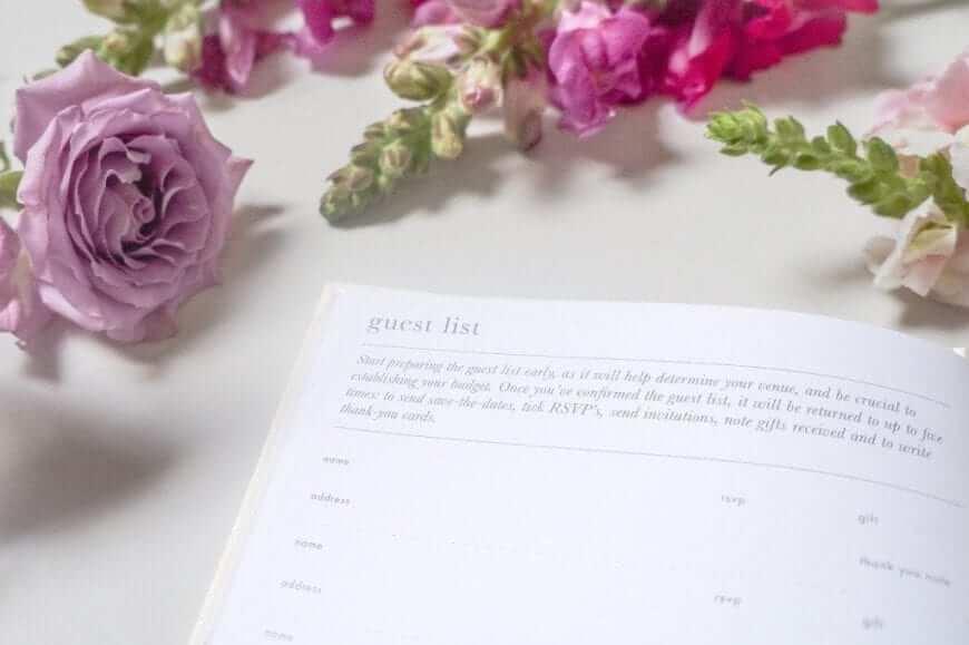 little white book wedding organiser and diary