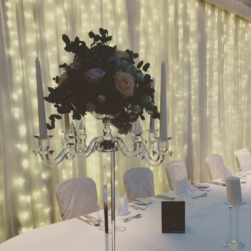 Top Table with Fairy Light Backdrop