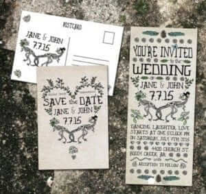 eclectic wedding invites