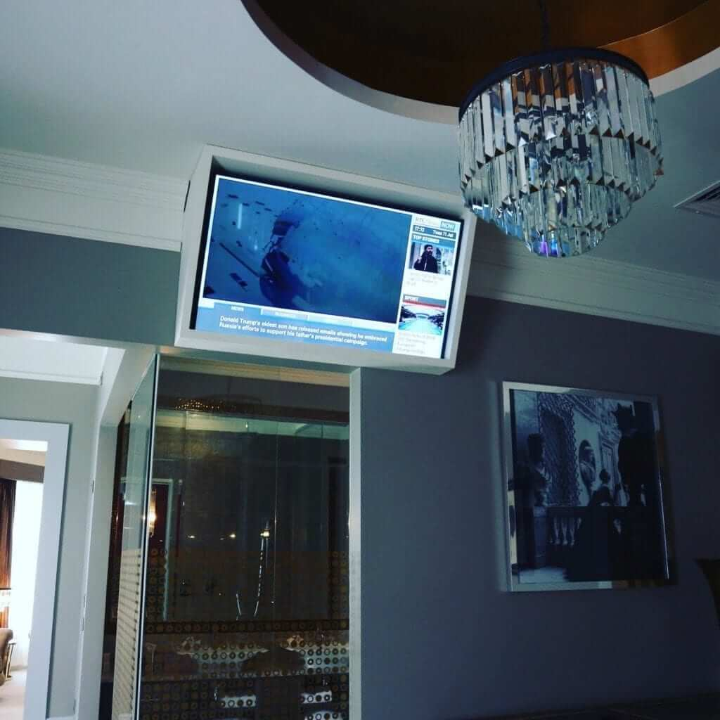 TV mounted to ceiling