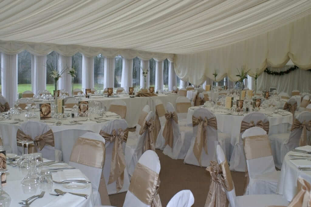Chair Covers White With A Gold Sash-min