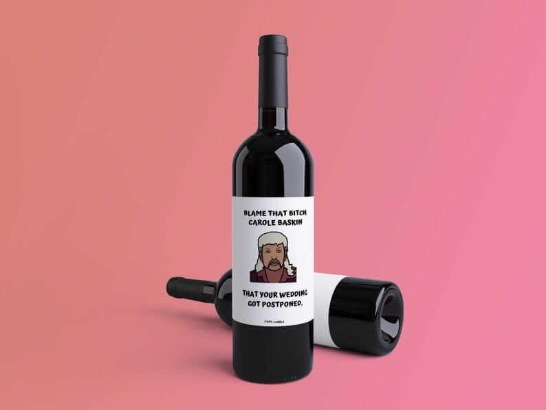 postponed wedding wine label