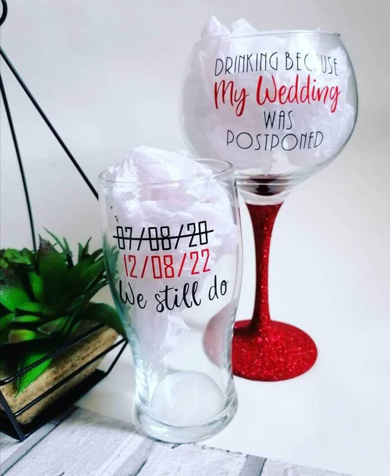 Postponed wedding glasses