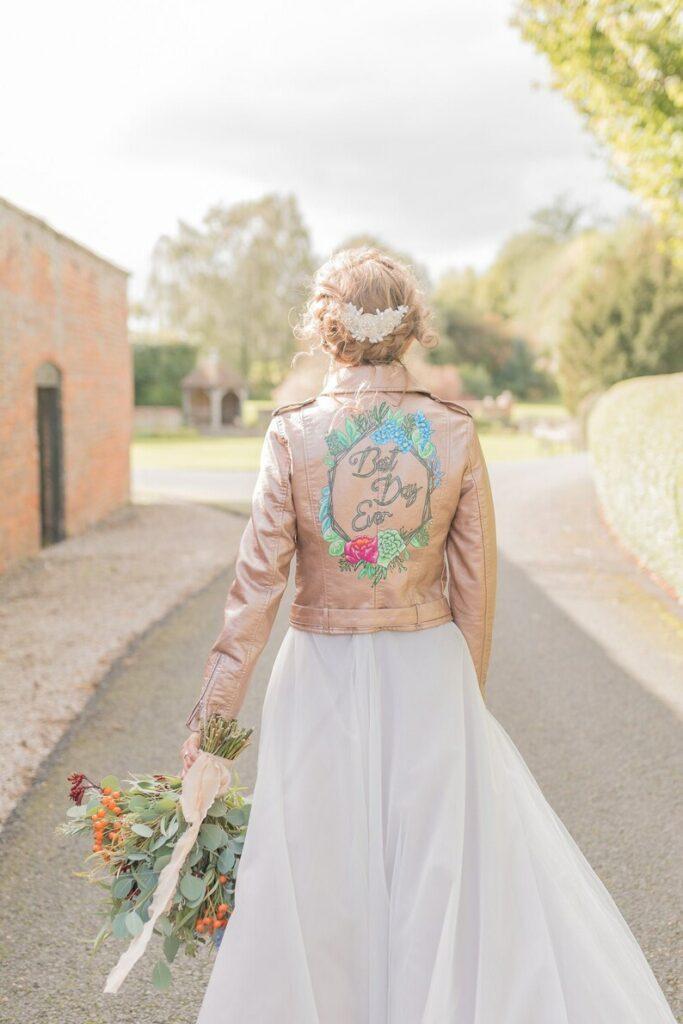 Pink bridal jacket